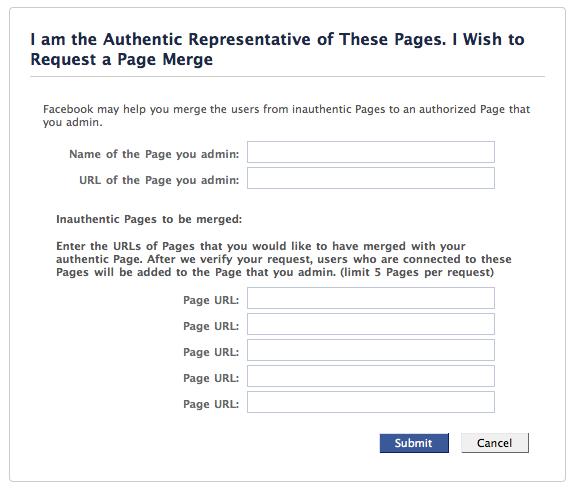 Fusion de plusieurs pages Fan Facebook