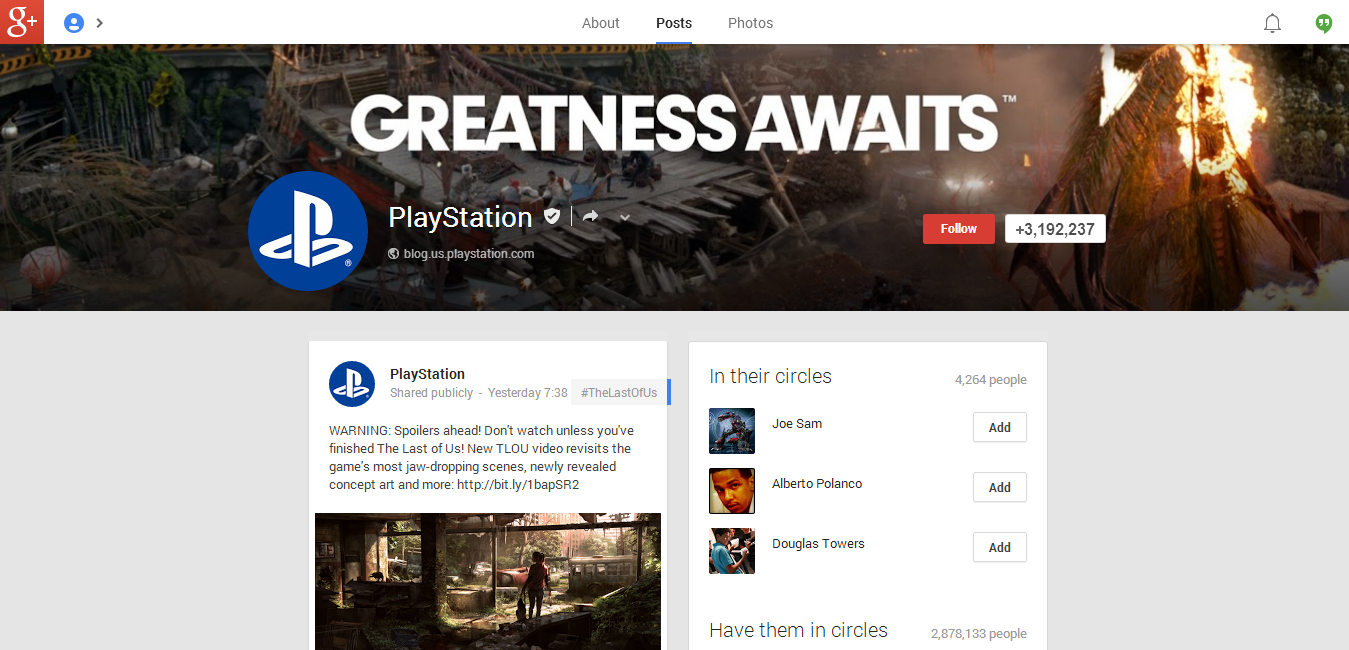 PlayStation Google Plus Page