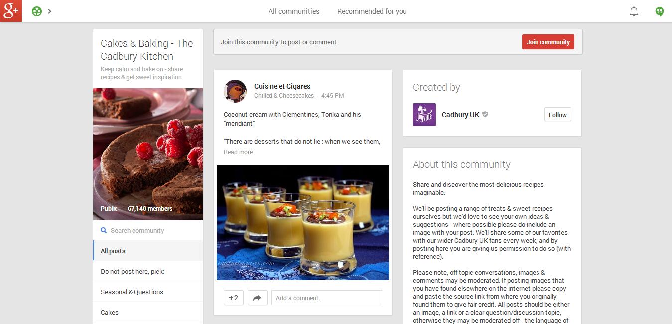 Cadbury Community Google Plus
