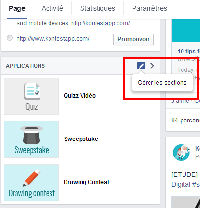 gérer les sections Facebook