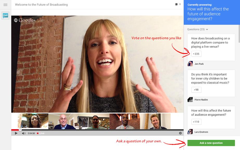 Google Plus Hangout Q&A