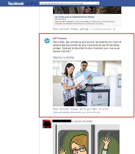 Posts sponsorisés Facebook