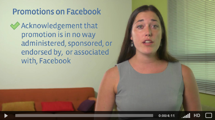 Facebook promotions guidelines video