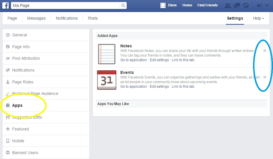 Apps on Facebook settings