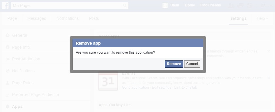 Remove apps on Facebook settings